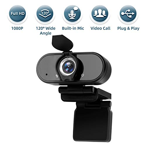 1080P Webcam with Microphone, Wandwoo Plug and Play USB Webcam with Cover for Windows PC Desktop Laptop, Streaming Web Camera with Wide Angle for Video Call Online Courses Conference Recording Gaming