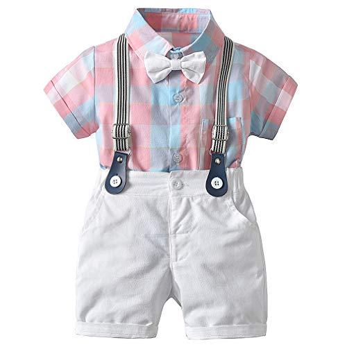 CARETOO Baby Jungen Bekleidungssets Kleidung Set Gitter Shirt + Hose Baby Fliege Anzug für Baby Geburtstagsparty Kleid, Rosa, Etikett 100 (Körpergröße 90~100 cm)