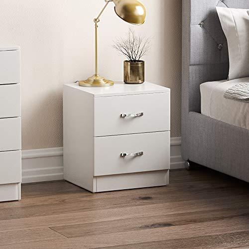 Home Discount Biały stolik nocny z szufladą, stolik nocny, 2 szuflady, stolik nocny, metalowe uchwyty i bieżnik