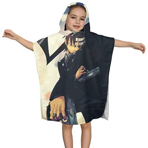 IUBBKI Soul Eater Kinder Kapuzen Badetuch Premium Qualität Soft Ultra Beach Wrap Poncho Cape Badeanzug Cover Up für Beach Pool