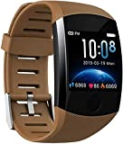 Pulsera inteligente IP67 impermeable Fitness Tracker pantalla a color reloj inteligente con frecuencia cardíaca presión arterial calorías podómetro salud deporte reloj marrón