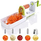 Spiralizer Twinzee - Spiraliseur de légumes compacte 5 Lames interchangeables Découpe-légumes pour Vos Fruits et légumes - Spirales, Juliennes, Spaghettis, Nouilles, Rubans ou Vermicelles