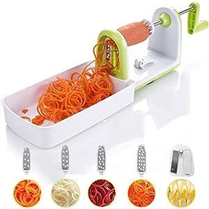 Cortador de verduras en espiral compacto Twinzee - 5 cuchillas fácilmente intercambiables - Espiralizador de verduras de fácil uso para cortar frutas y verduras en espiral