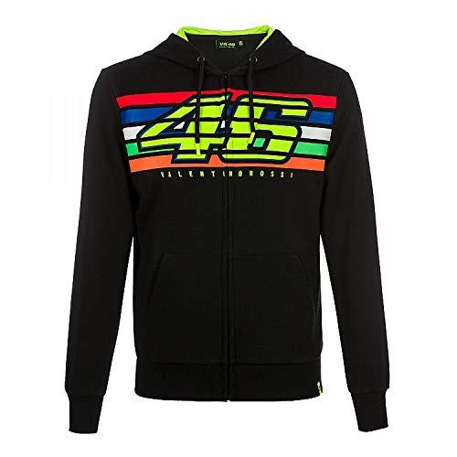 Valentino Rossi Vr46 Classic-Stripes, Full Zip Hoodie Hombre, Negro, L