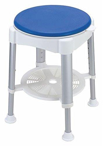 Pflegehome24® Duschhocker Duschstuhl Hocker mit gepolstertem Drehsitz weiß/blau