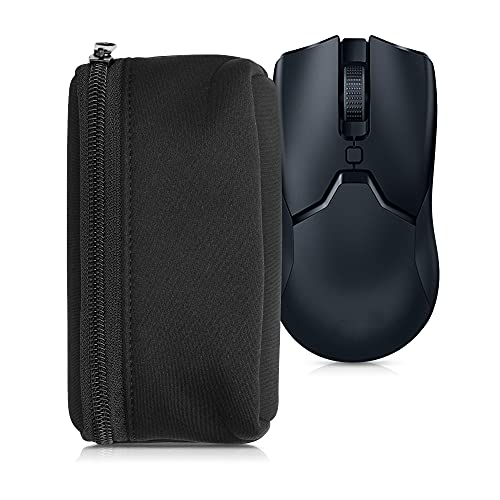 kwmobile Neoprene Pouch Compatible with Universal Gaming Mouse - Storage Carrying Case Dust Cover with Zipper - Black