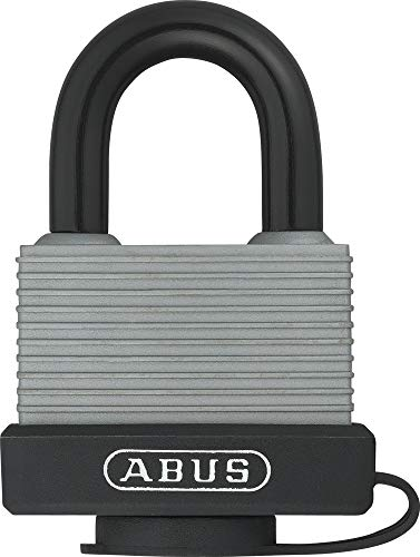 ABUS Vorhängeschloss 70AL/45 aus massivem Aluminium - wetterfest - mit Schutzkappe und Kunststoffummantelung - ABUS-Sicherheitslevel 5 - Silber