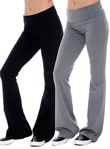 Unique Styles Fold-Over Waistband Stretchy Cotton Blend Yoga Pants (Medium-2Pack Black & Grey)