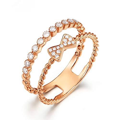 Beydodo Anillos Compromiso Mujer Oro Rosa 18K Lazo con Redondo Diamante Blanco 0.2ct Anillo Talla 20