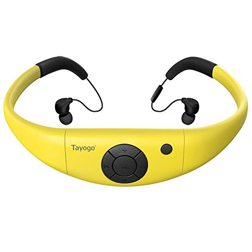 Tayogo MP3 Kopfhörer 8GB IPX8 Wasserdicht Ultraleicht FM Bluetooth 4.2 Hi-FI Unterwasser 3m Schrittzähler App U Disk für Schwimmen Laufen Walking Spa und Andere Wassersportarten (Gelb) -MEHRWEG