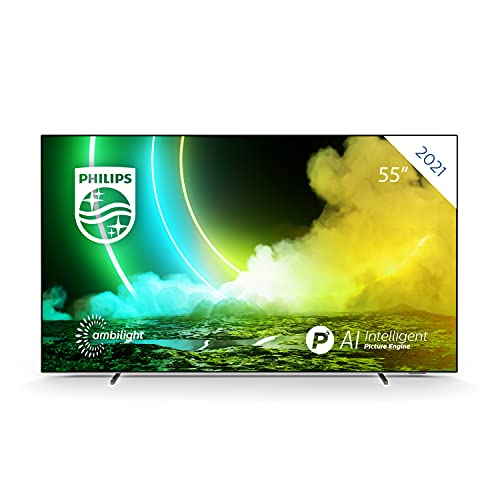 Philips Ambilight TV 55OLED705/12 55-Zoll OLED TV (4K UHD, P5 Perfect Picture Engine, Dolby Vision∙Atmos, HDR 10+, Sprachassistent, Android TV) Chrom (2020/2021 Modell)