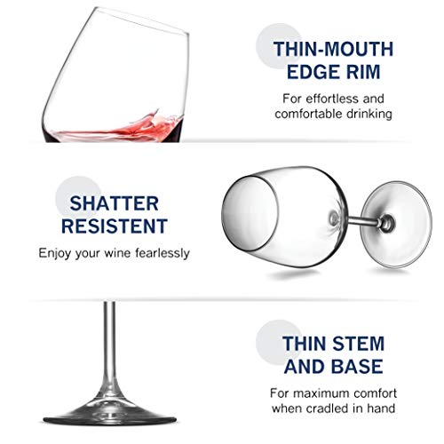 Paksh Novelty Italian Red Wine Glasses - 18 Ounce - Lead Free - Wine Glass Set of 4, Clear