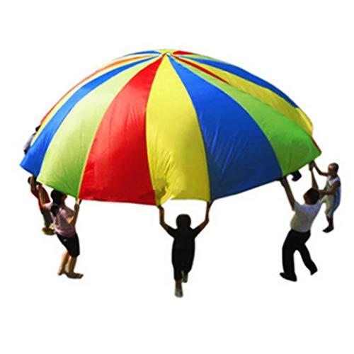 YJSD Juguete de paracaídas con Paraguas arcoíris para niños, Juegos cooperativos al Aire Libre, Accesorios para Juegos, Actividades para Padres e Hijos de jardín de Infantes, Deportes Divertidos
