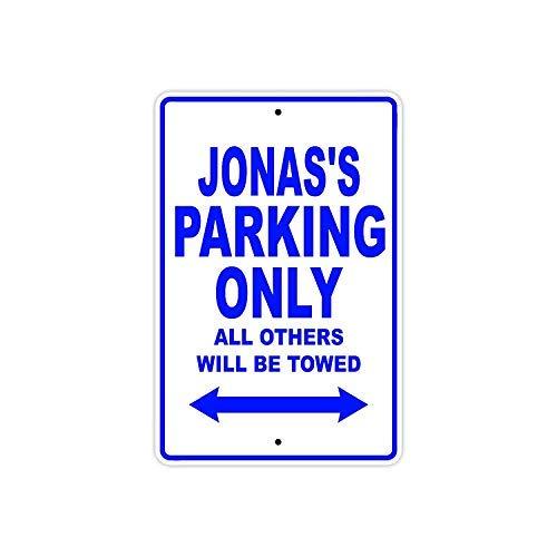 istisign Metallschild, Motiv: Jonas Parking Only All Other Will Be Towed Namensschild, Wanddekoration, für Zuhause, Garage, Hof, Zaun, Auffahrt, 20,3 x 30,5 cm