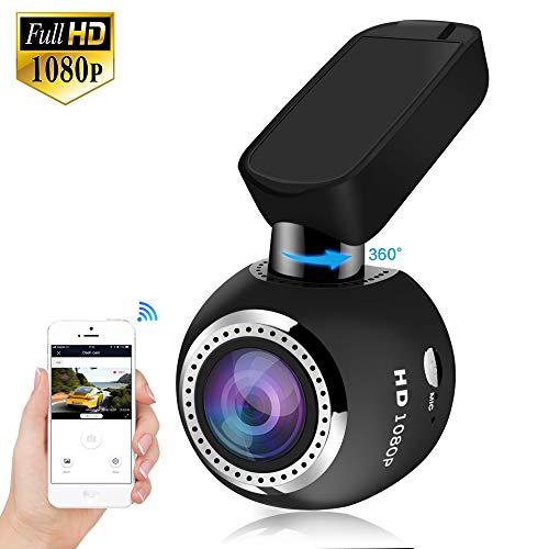 HQBKiNG Auto-Armaturenbrett-Kamera mit Nachtsicht, magnetisch, 360° drehbar, G-Sensor, Loop-Aufnahme, Parkmonitor, unterstützt Karte, max. 128 GB