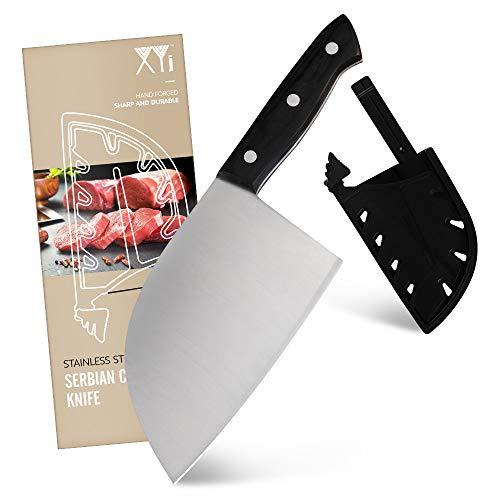 XYJ 7 Zoll serbisches Messer Kochmesser 3CR13 Edelstahl Metzger Messer Full Tang Küchenbeil Chinesisches Hackmesser mit Messerkantenschutz zum Tragen im Freien