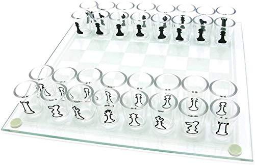 Juego de ajedrez de Vidrio, 32 Piezas de pequeño Juego de ajedrez de Vaso de chupito Juego de Beber Juego de ajedrez Duradero y Reutilizable Copa de Vino Juego de ajedrez Regalo para Fiestas