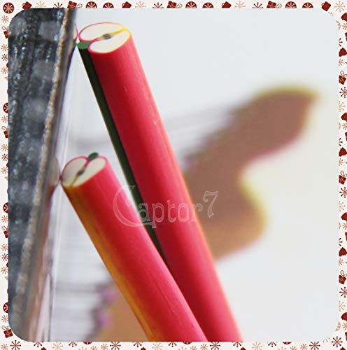 3 BARRETTE CANES NAIL ART UNGHIE BASTONCINI MELA FRUTTA IN FIMO PER FETTINE 5 CM