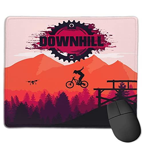 Zollamt Mauspad,Mountainbiken Downhill Freeride Extremsport,Quadratisches Gaming-Mauspad, rutschfeste Gummibasis für Heim-Laptop, Reisen, personalisierter Schreibtisch, 9,5