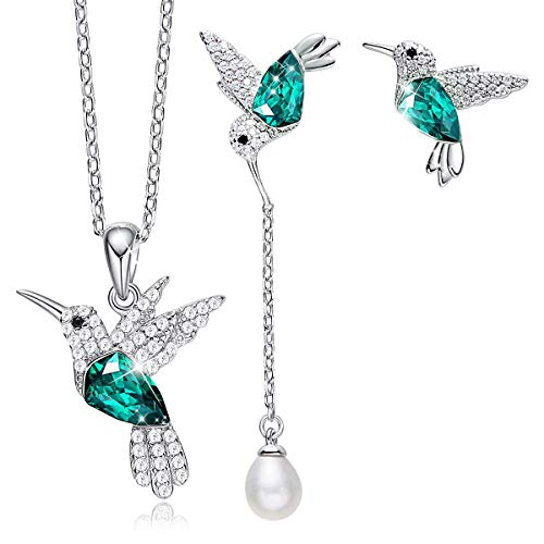 CDE Mother's day Gifts Jewelry Sets Hummingbird S925 Sterling Silver Pendant Necklace Pearl Earrings Set Embellished with Austrian Crystals Fine Jewelry Birthday Gift for Women Mom Girls Wife Grandma