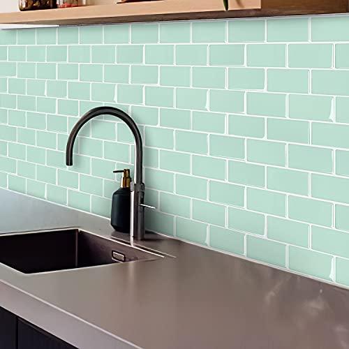 Ecobeautymo Vinilos Cocina Azulejos Azulejos Adhesivos, Losetas vinilicas 3D Azulejos Adhesivo Pared Baño, Verde Pegatinas de Azulejos Auto-Adhesivo 30.5x30.5cm 4 Piezas