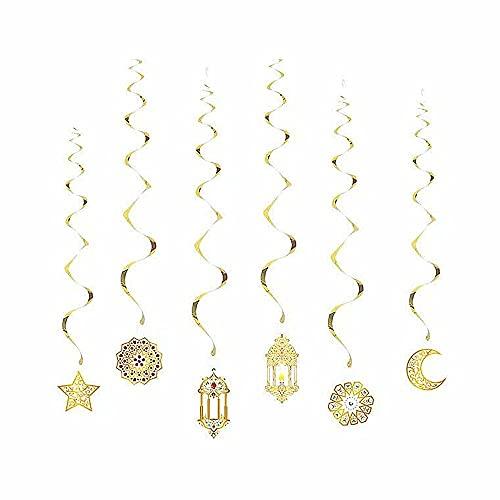 ATIN Estrellas y luna tira banderas oro brillantes estrellas y luna fiesta decoración kit metal purpurina 3D colgante guirnalda guirnalda brillante estrellas decoración