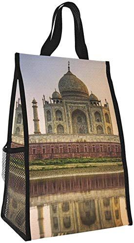 Bolsa de aislamiento plegable, Taj Mahal River Reflection, bolsa de almuerzo portátil, bolso de picnic de gran capacidad para viajes de oficina de trabajo