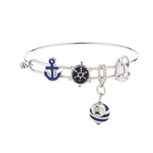 Lux Accessories Silver Tone Nautical Blue White Anchor Sailboat Charm Bracelet