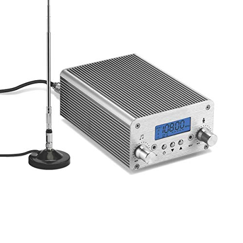 FM Transmitter, Elikliv 15W 87~108MHz LCD Display Wireless Stereo Broadcast with Telescopic Antenna Built-in PLL Radio FM Transmitter for Church,Car Theater