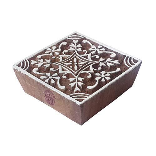 Royal Kraft Schön Holzblöcke Quadrat Blumen Entwürfe Drucken Stempel - DIY Henna Stoff Textil Papier Ton Keramik Blocke Druckstempel