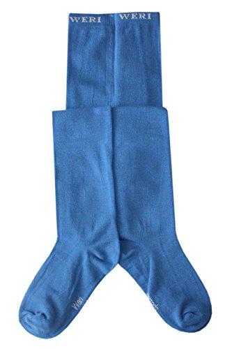Weri Specials Bas de contention pour bébé et fille Uni lisse dans différentes couleurs modernes. - Bleu - 86 cm-92 cm