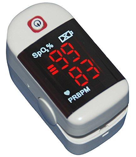Finger-Pulsoximeter [ChoiceMMed MD300C11] zur Überprüfung der Blut-Sauerstoff-Sättigung (SpO2) und der Pulsfrequenz