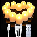 Homemory Rechargeable Flameless Votive Candles with Remote, Battery Tea Lights with Timer, 12PCS Electric Fake Candle in Warm White (USB Charging Cable Included)