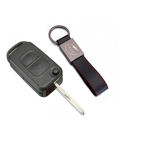 Carcasa Funda Llave Remoto Mando 2 Botones para Mercedes Classe A C E S CL ME004 con Llavero de Cuero KASER