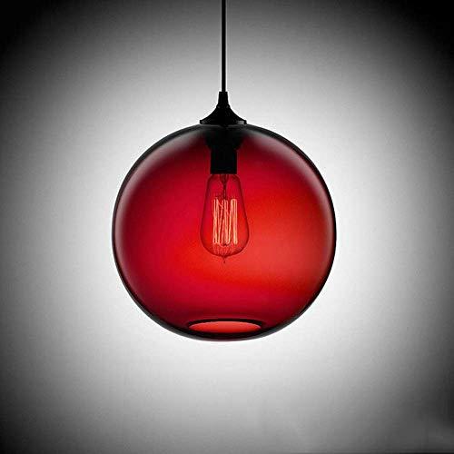 WEM Lámpara colgante nórdica moderna de vidrio, lámpara colgante de techo de metal negro, bola Lamsphade, iluminación de suspensión simple, accesorio para comedor, cafetería, bar, guardarropa, enchuf