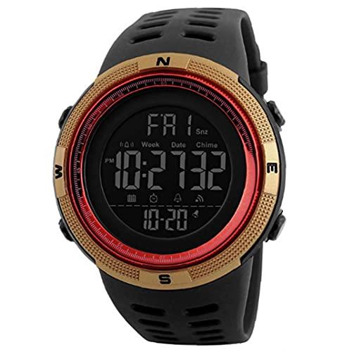 Runfon Los Estudiantes Miran el Reloj Militar electrónico Digital con Brazalete de Cuero fácil leído Lectura Impermeable Reloj de Pulsera clásico margen de Oro