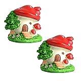 BESPORTBLE 2 miniaturas de resina con forma de seta en miniatura para jardín de cuento de hadas, bonsáis, decoración de jardín de cuento de hadas