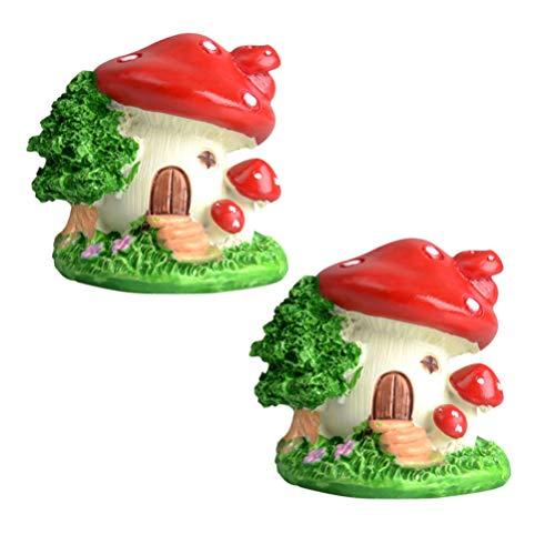 BESPORTBLE Pack of 2 Mini Resin Mushroom Houses Miniature Fairy Garden Bonsai Ornaments Fairy Garden Micro Landscape Decoration