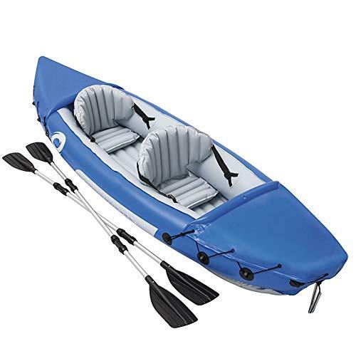 Gyubay Kayak Hinchable Doble Canoa Rafting Kayak Inflable del Barco de Goma Espesada Pesca en el Barco Azul Kayak de Pesca recreativa (Color : Blue, Size : 351x76x38cm)