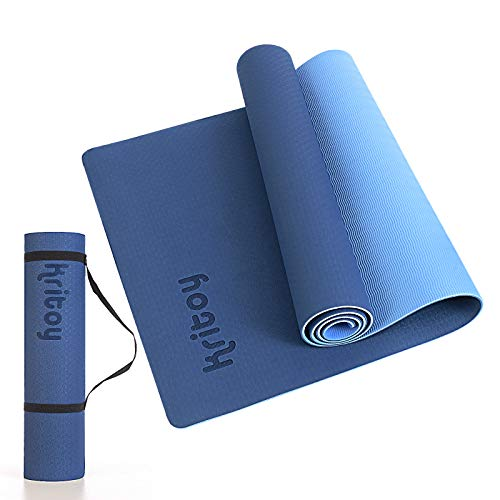 KRITOY Yoga Mat for Women & Men, Eco-Friendly & Non-Slip Mat, Fitness Exercise Mat for Home, Workout mat for Yoga, Pilates, and Floor Exercises, Classic 1/4 inch, With Carrying Strap (Dark Blue + Light Blue)