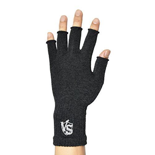 Vital Salveo -Stretchy Unisex Half Finger Texting Circulation Fingerless Recovery Gloves (Pair)-Large-Dark Grey