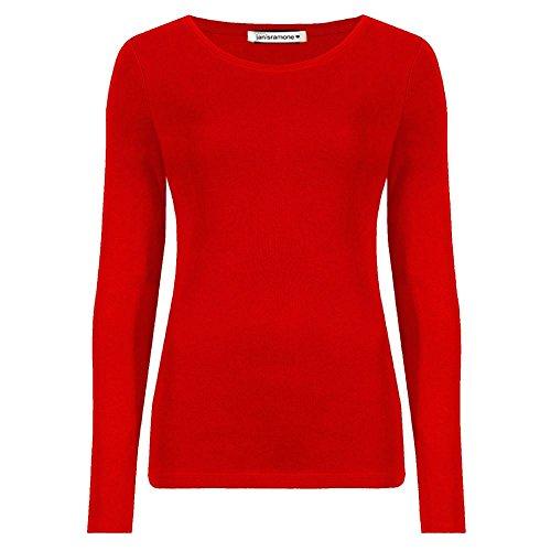 Janisramone Femmes Dames Nouveau Rond Cou Longue Manches Plaine Décontractée Stretchy Tee De Base Mince Fit T-Shirt Haut