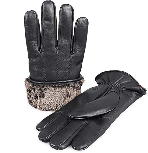 Zavelio Men's Premium Shearling Sheepskin Fur Lined Leather Gloves Black Small