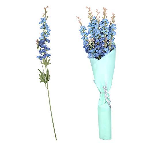 Künstliche Blumen Rittersporn (8 Zweige) - Dunkel Blaue Kunstblumen mit Papier Verpackung (78cm) - Kunstpflanzen Delphinium Blumenstrauß Künstlich für Hochzeit, Dekoration, Gesteck, Kränze, Party Deko