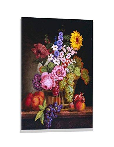 Kunst für Alle Image sur Verre: Pawlowsk Blumenstrauß in einem Korb, Image de Haute qualité, Impression d'art Brillante sur Verre Pur, 60x80 cm