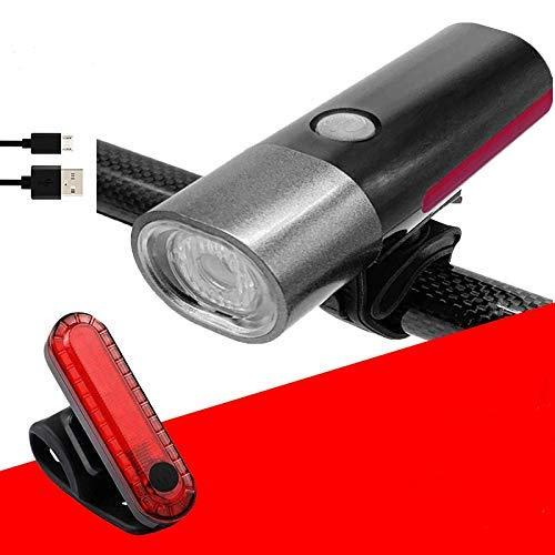 SLRMKK Luz de Bicicleta, Luces de Bicicleta La luz USB con Luces de Advertencia de luz Trasera se Puede encender Cuando el Resplandor de los Faros de la montaña Conduce los Faros del automóvil