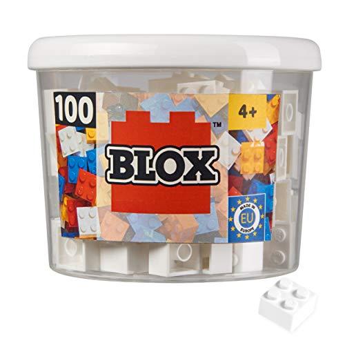 Simba 104114113 - Blox, 100 weiße Bausteine für Kinder ab 3 Jahren, 4er Steine, inklusive Dose, hohe Qualität, vollkompatibel mit vielen anderen Herstellern