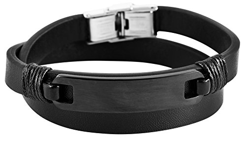 Brillibrum Design Wickelarmband Schwarz mit Gravurplatte Echtleder Armband mit Nnamen Gravur Partner Schmuck Armreif zum Wickeln