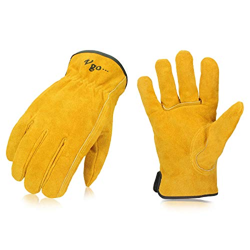 Vgo 3Pairs Unlined Cowhide Split Leather Work and Driver Gloves,for Heavy Duty, Truck Driving, Warehouse, Gardening, Farm(Size L,Gold,CB9501)
