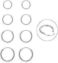 Silver Hoop Earrings- Cartilage Earring Small Hoop Earrings for Women Men Girls,4 Pairs of Hypoallergenic 925 Sterling Silver Tragus Earrings(Silver,8mm/10mm/12mm/14mm)